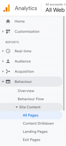 Google Analytics Behaviour Report
